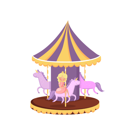Colorful carousel with horses, merry go round in an amusement park cartoon vector Illustration