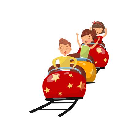 Gente felice che guida sulle montagne russe nell'illustrazione di vettore del fumetto del parco di divertimenti su un fondo bianco Archivio Fotografico - 93544310