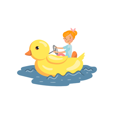 Happy girl enjoying water rides on a floating giant yellow duck in amusement park cartoon vector Illustration