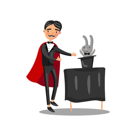 Male magician in black suit and red cape performing his trick rabbit appearing from a magic top hat cartoon vector Illustration Illustration