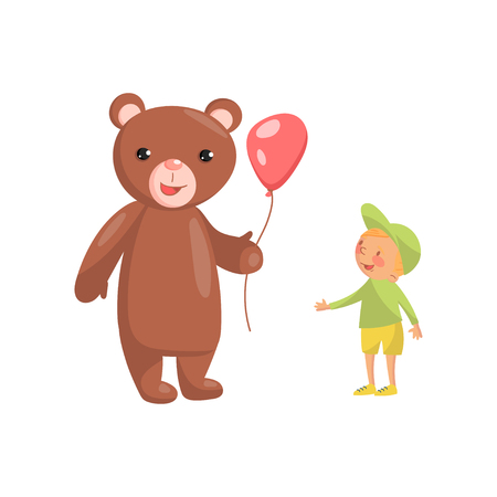 Costume bear character with red balloon and cute little boy cartoon vector Illustration