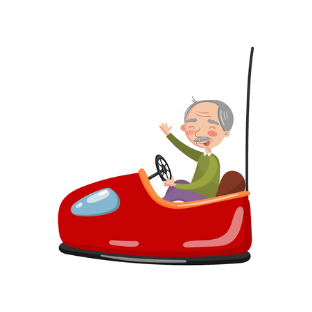 Happy senior man riding electric bumper car or dodgem car in amusement park cartoon vector Illustration
