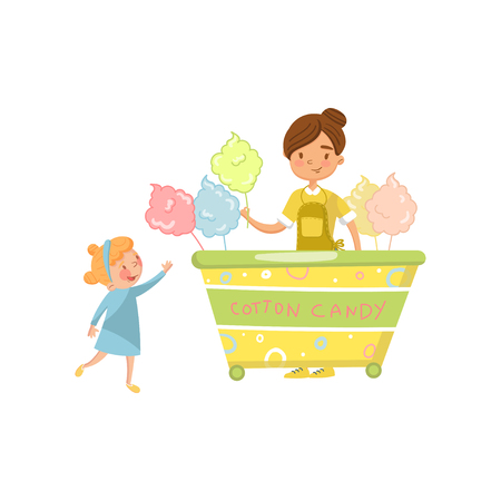 Cute little girl bying cotton candy from street food cart., food kiosk on wheels cartoon vector Illustration on a white background