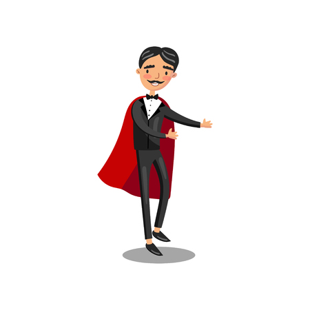 Male magician character in black suit and red cape performing his trick cartoon vector Illustration