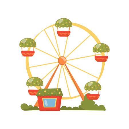 Ferris wheel, carousel in amusement park cartoon vector Illustration on a white background Illustration