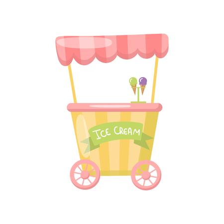 Ice cream cart on wheels, food kiosk. Cartoon vector Illustration.