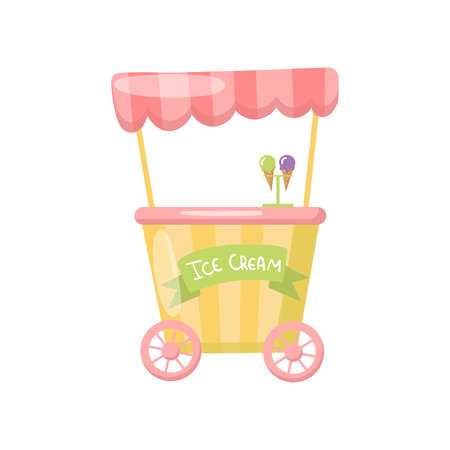 Ice cream cart on wheels, food kiosk. Cartoon vector Illustration.