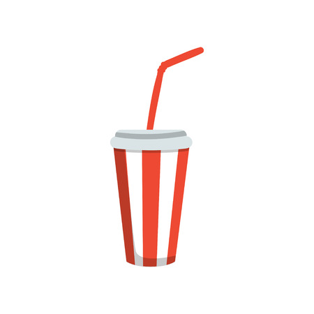 Soft drink in a red paper cup with lid and straw. Cartoon vector Illustration. Ilustração
