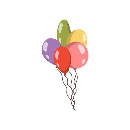 Bundle of colorful balloons. Cartoon vector Illustration. Illustration