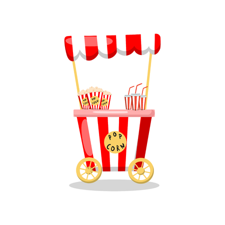 Popcorn cart on wheels, food kiosk cartoon vector Illustration on a white background Иллюстрация
