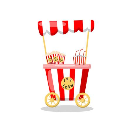 Popcorn cart on wheels, food kiosk cartoon vector Illustration on a white background Illustration