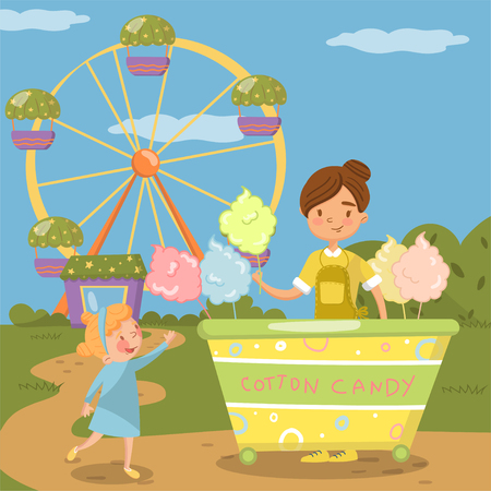 Cute little girl bying cotton candy from street food cart in front of ferris wheel in amusement park vector Illustration, colorful design element for poster or banner
