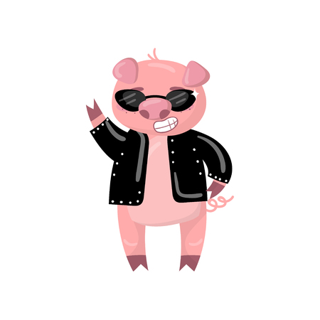 Cute pig character in a black jacket and sunglasses showing victory sign, funny cartoon piggy animal vector Illustration on a white background