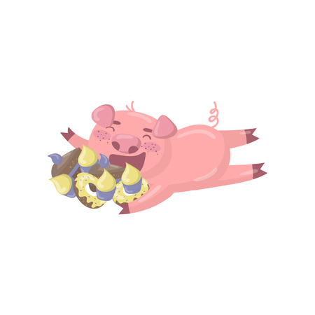 Cute pig character lying on the floor and eating sweets, funny cartoon piggy animal vector Illustration on a white background Illustration