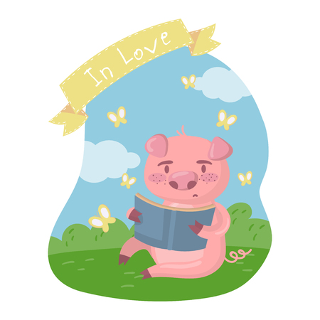 Cute smart pig character reading a book while sitting on green lawn in summer day, in love vector Illustration in cartoon style, colorful design element for poster or banner.