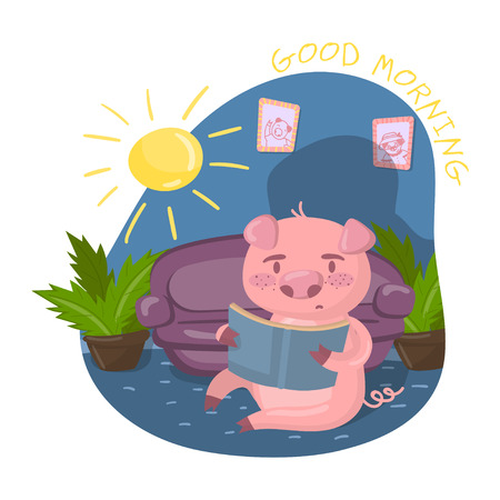 Cute smart pig character reading a book while sitting in living room, Good morning vector Illustration in cartoon style, colorful design element for poster or banner.