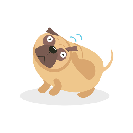 Pug dog character wagging the tail