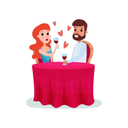 Happy couple in love on a date, man and woman sitting at the table and having dinner cartoon vector Illustration Illustration