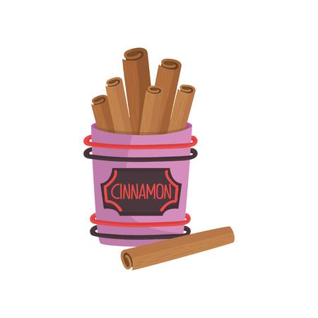 Cinnamon spice, brown roll sticks, ingredient of culinary condiment cartoon vector Illustration Illustration