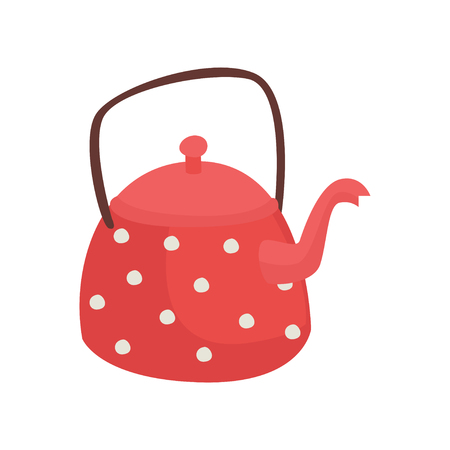 Red teapot with white polka dots cartoon vector Illustration