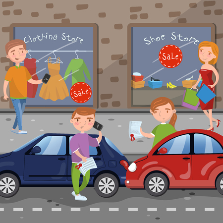 Car accident on city street vector illustration in cartoon style, design element for poster or banner