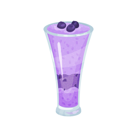 Blueberry smoothie, healthy food for breakfast cartoon vector Illustration Illustration