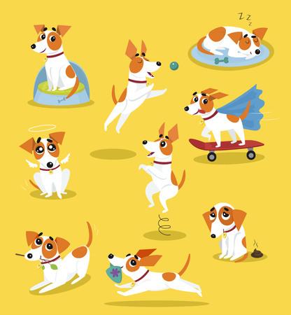 Netter Jack Russell-Terriersatz, lustiger Schoßhundcharakter in den Karikaturvektorillustrationen der verschiedenen Situationen auf einem gelben Hintergrund