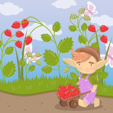 Cute cartoon troll with farmer wooden cart full of strawberries, green summer landscape vector illustration
