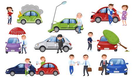 Car crash and accident set, car insurance cartoon vector Illustration Vectores