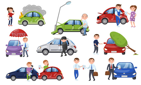 Car crash and accident set, car insurance cartoon vector Illustration Stock Illustratie