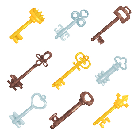 Collection vintage old keys, different bronze, silver and gold retro keys vector Illustrations
