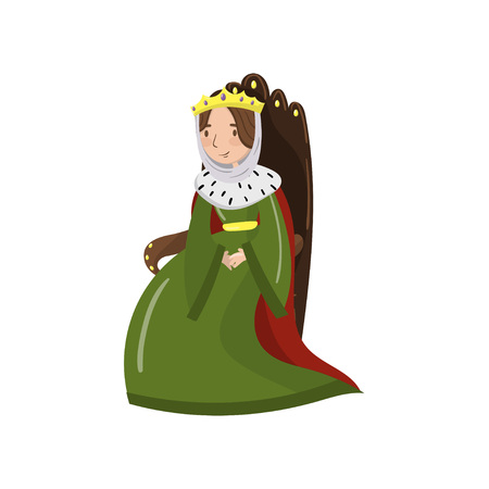 Majestic queen in golden crown sitting on wooden throne, fairy tale or medieval character cartoon vector Illustration.