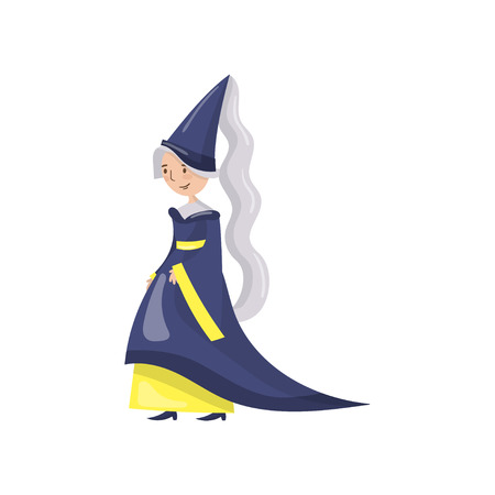 Maid of honor of the queen in a blue dress and pointed hat, fairy tale or medieval character cartoon. Vector Illustration on a white background.