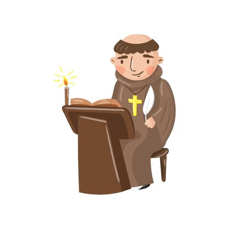 Caráter medieval do escrevente do monge que escreve uma crônica de eventos contemporâneos. Ilustração do vetor dos desenhos animados em um fundo branco. Ilustración de vector
