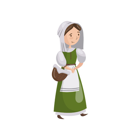 Medieval maid in traditional dress. Cartoon vector Illustration on a white background. Stock Illustratie