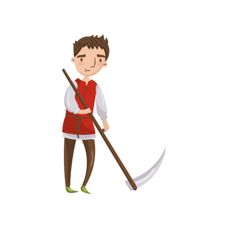 Medieval man with scythe cartoon vector Illustration.