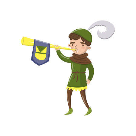 Royal herald with trumpet, fairytale or medieval character cartoon vector Illustration on a white background Illustration