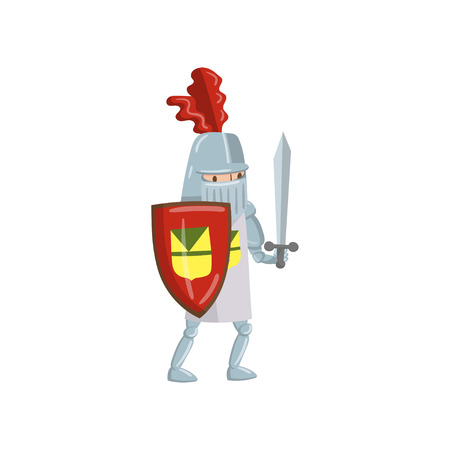Medieval amed knight character with shield and sword, fairytale or medieval character cartoon vector Illustration on a white background