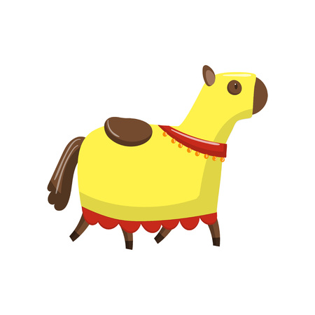 Horse in medieval horsecloth cartoon vector Illustration on a white background