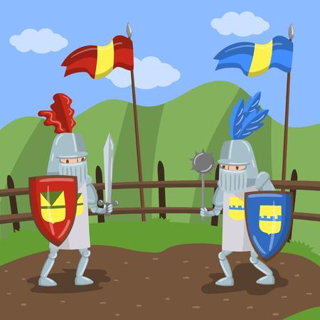 Tournoi médiéval de tricots, deux chevaliers amed joutes sur le vecteur de fond paysage été Illustration dans le style cartoon