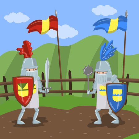 Medieval knits tournament, two amed knights jousting on summer landscape background vector Illustration in cartoon style Illustration
