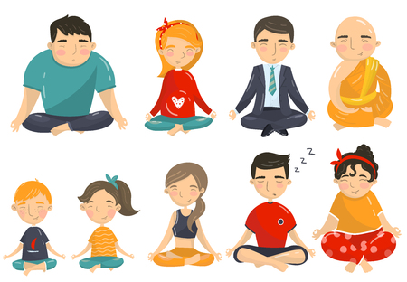 People meditating and relaxing in yoga position set, men, women and kids doing yoga cartoon vector Illustrations on a white background.