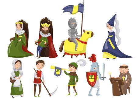 Zestaw średniowiecznych ludzi, postaci z okresu historycznego średniowiecza wektorowe ilustracje.