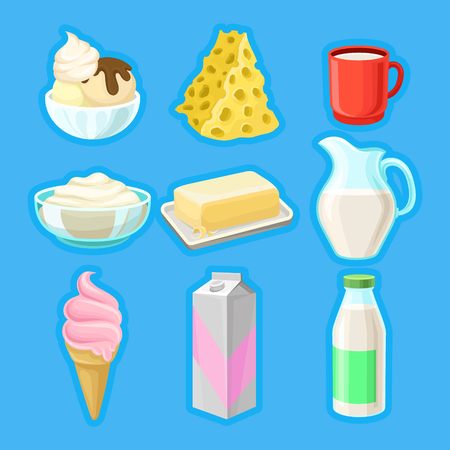 Dairy products set, fresh organic milk products vector Illustrations. 向量圖像