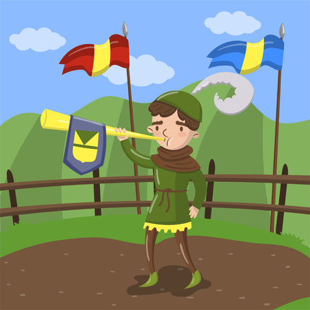 Royal herald with trumpet standing on summer landscape background. Vector illustration.