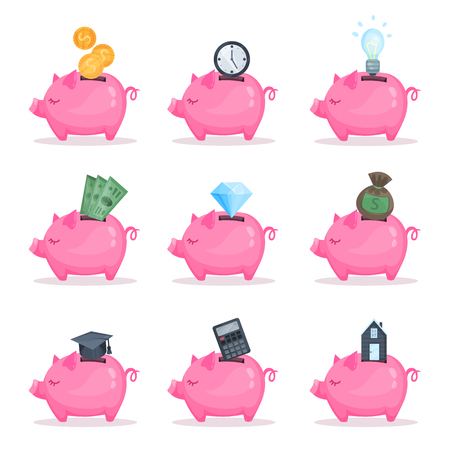 Pink piggy bank set, saving and investing money concept cartoon vector Illustrations.