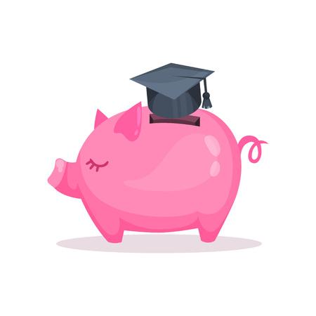 Pink piggy bank and graduation, saving and investing money concept. Cartoon vector Illustration.