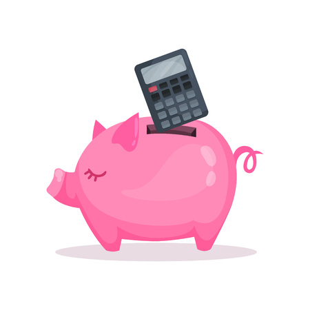 Pink piggy bank and calculator, saving and investing money concept. Cartoon vector Illustration.