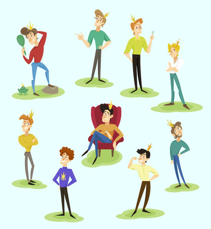 Modern prince set, funny young man character with a golden crown on his head posing in different situations vector illustration.