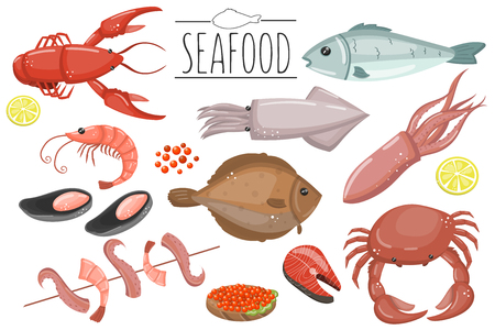 Seafood set, fish products for the fish market or restaurant vector illustrations in cartoon style.